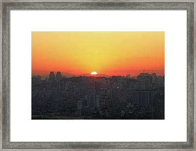 Sunrise In The City Framed Print by Hyuntae Kim
