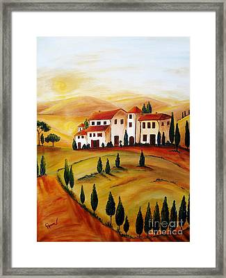 Sunrise In Tuscany Framed Print by Christine Huwer