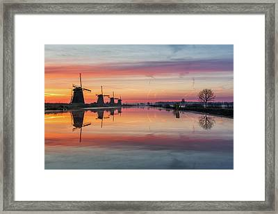 Sunrise Kinderdijk Framed Print