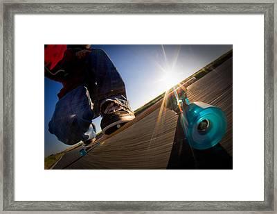 Sunrise Longboarding Framed Print by Will Gudgeon
