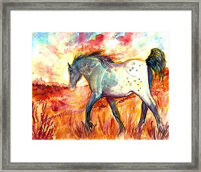 Framed Print featuring the painting Sunrise Mare by Jenn Cunningham