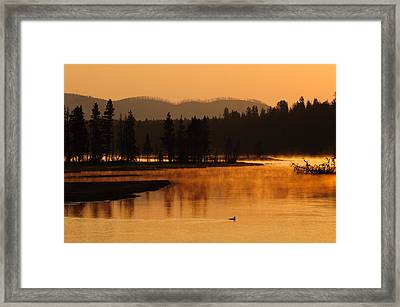 Sunrise Near Fishing Bridge In Yellowstone Framed Print