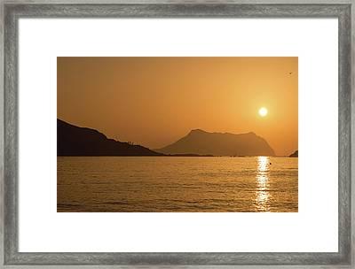 Sunrise On A Beach In Aguilas, Murcia Framed Print