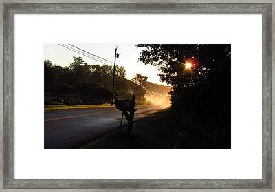 Sunrise On A Country Road Framed Print