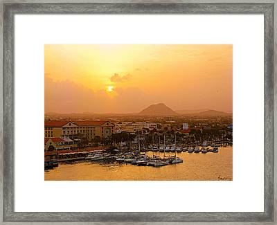 Sunrise On Aruba Framed Print
