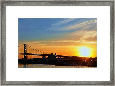 Sunrise On Ben Franklin Bridge Framed Print by Andrew Dinh