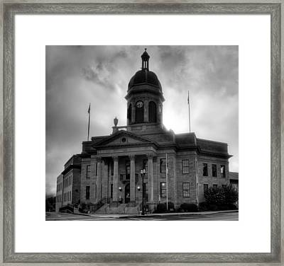 Sunrise On Cherokee County Courthouse In Black And White Framed Print