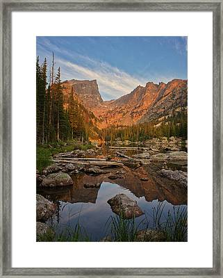 Sunrise On Dream Lake Framed Print
