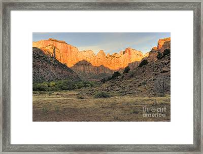 Towers Of The Virgin At Sunrise Framed Print by Sandra Bronstein
