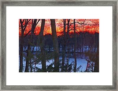 Sunrise On Farrington Lake Framed Print by Aron Chervin
