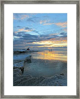Framed Print featuring the photograph Sunrise On Ice by Greta Larson Photography