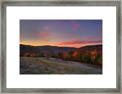 Framed Print featuring the photograph Sunrise On Jenne Farm - Vermont Autumn by Joann Vitali