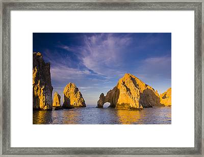 Sunrise On Lands End, Los Arcos Rock Framed Print