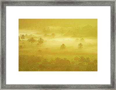 Sunrise On Mist In Roseau Valley- St Lucia Framed Print by Chester Williams