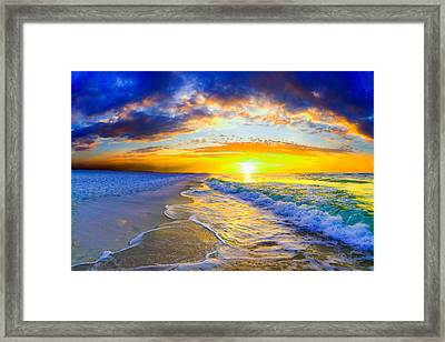 Sunrise On Ocean Waves Beautiful Orange Sunrise Framed Print