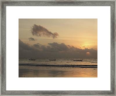 Sunrise On The Beach With Wooden Dhows Framed Print