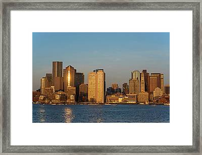 Sunrise On The Boston Skyline View From East Boston Framed Print by Toby McGuire