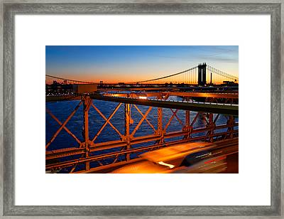 Sunrise On The Brooklyn Bridge Framed Print