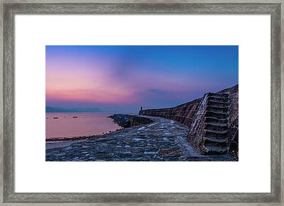 Sunrise On The Cobb, Lyme Regis, Dorset, Uk. Framed Print