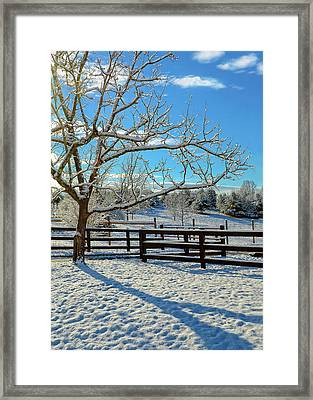 Sunrise On The Farm Framed Print by Susan Leggett