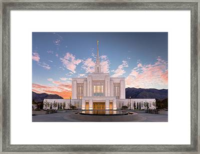 Sunrise On The Ogden Utah Lds Temple Framed Print