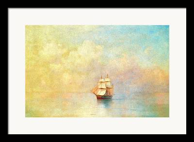 Ship Mixed Media Framed Prints