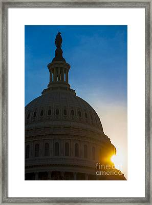 Sunrise On The United States Capitol Building  Framed Print