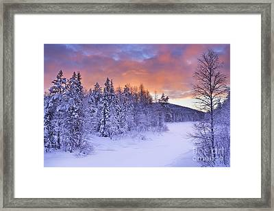 Sunrise Over A River In Winter Near Levi, Finnish Lapland Framed Print by Sara Winter