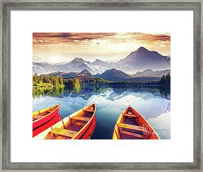 Sunrise Over Australian Lake Framed Print by Thomas Jones