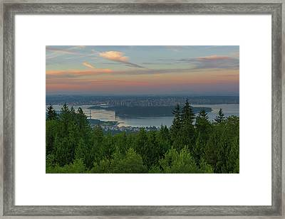 Sunrise Over City Of Vancouver Bc Canada Framed Print by David Gn