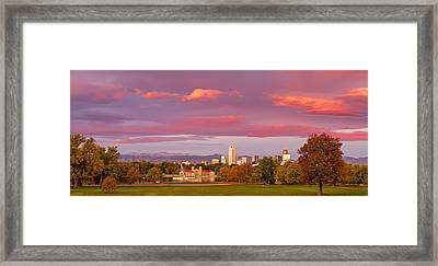 Sunrise Over Denver Colorado Skyline In Fall Framed Print