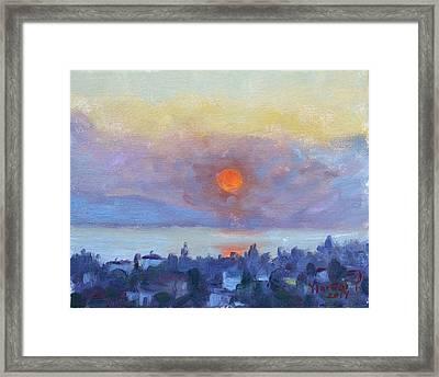 Sunrise Over Dilesi Athens Framed Print