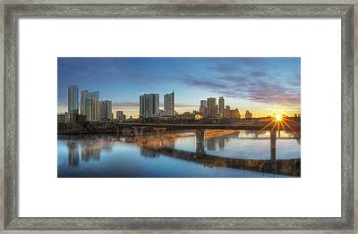 Sunrise Over Downtown Austin And Lady Bird Lake Pano 2 Framed Print