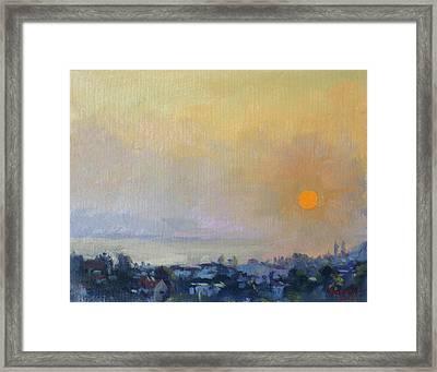 Sunrise Over Evia Island Greece Framed Print