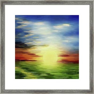 Sunrise Over Green Lands Abstract Framed Print by Georgiana Romanovna