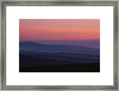 Framed Print featuring the photograph Sunrise Over Hills Of Moravian Tuscany by Jenny Rainbow