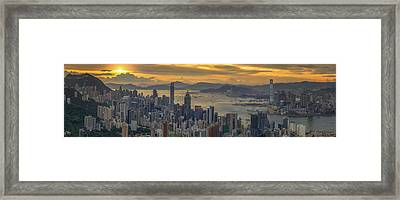 Sunrise Over Hong Kong And Kowloon City Framed Print