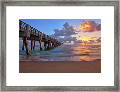 Sunrise Over Juno Beach Pier In Florida Framed Print