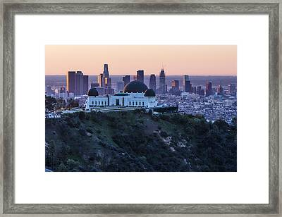 Sunrise Over La And Griffith Observatory Framed Print by John McGraw