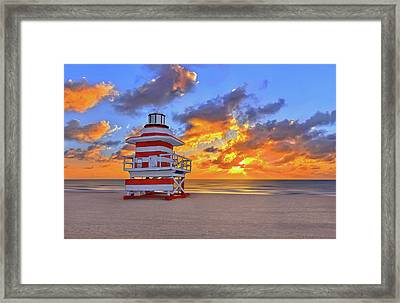 Sunrise Over Lifegaurd Stand On South Miami Beach  Framed Print