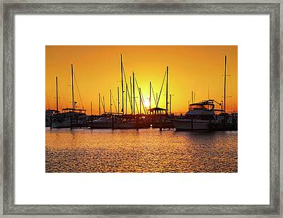 Framed Print featuring the photograph Sunrise Over Long Beach Harbor - Mississippi - Boats by Jason Politte