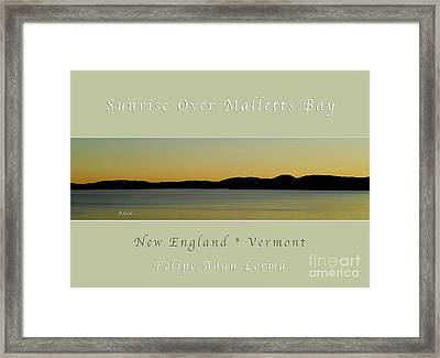 Sunrise Over Malletts Bay Greeting Card And Poster - Six V4 Framed Print by Felipe Adan Lerma