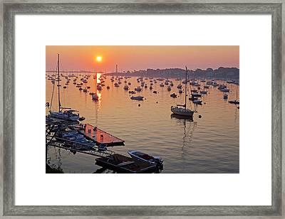 Sunrise Over Marblehead Harbor On A Hazy Summer Morning Framed Print