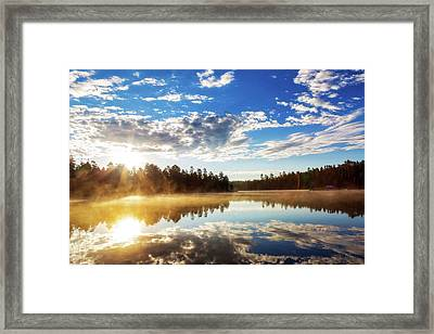 Sunrise Over Misty Lake In Payson Arizona Framed Print by Susan Schmitz