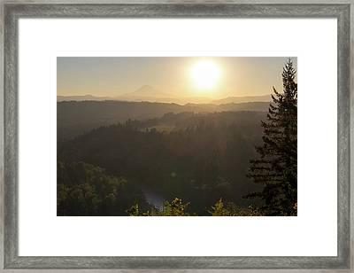 Sunrise Over Mount Hood And Sandy River Framed Print by David Gn