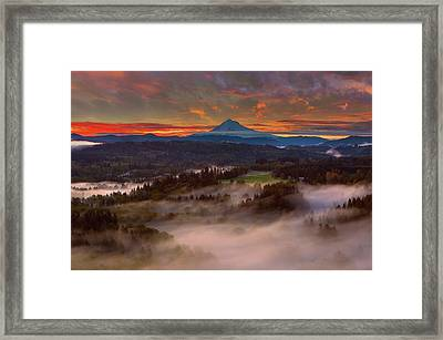 Sunrise Over Mount Hood And Sandy River Valley Framed Print by David Gn