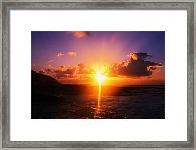 Sunrise Over Ocean, Sandy Beach Park Framed Print by Panoramic Images