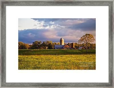 Sunrise Over Silos Framed Print