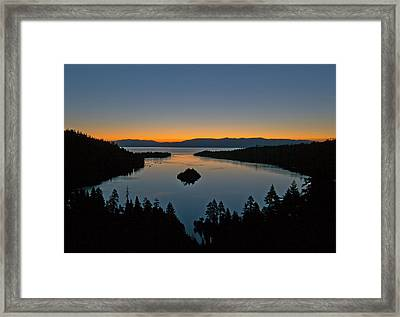 Sunrise Over South Lake Tahoe - Emerald Bay Framed Print by Brendan Reals