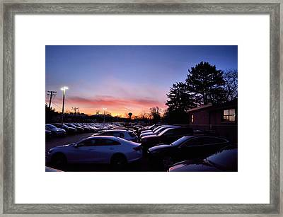 Framed Print featuring the photograph Sunrise Over The Car Lot by Jeanette O'Toole